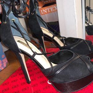 Laced black heels